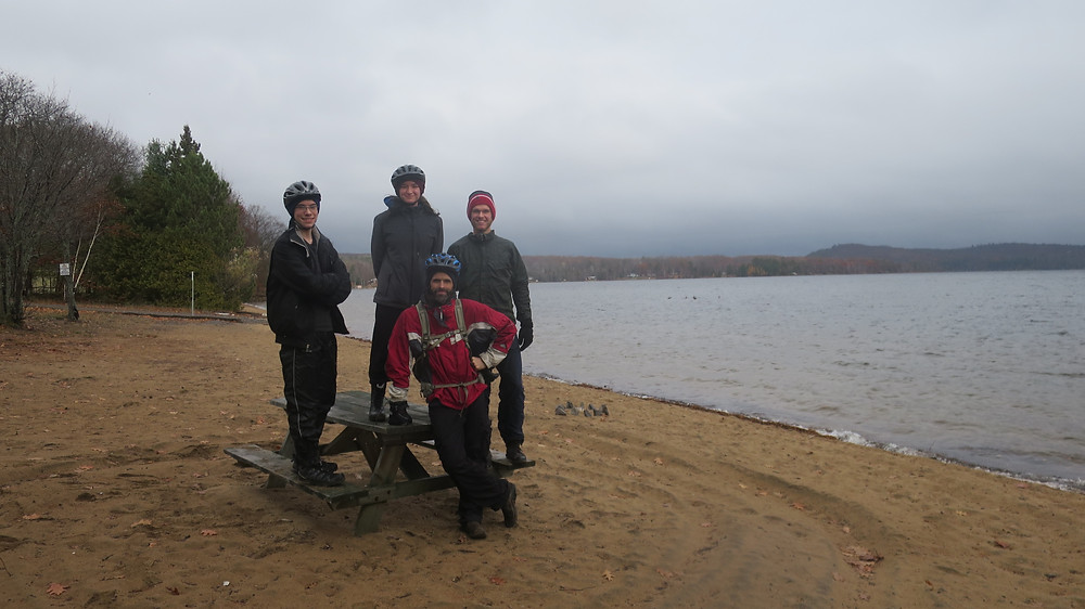 Taking a break on Kamaniskeg Lake.