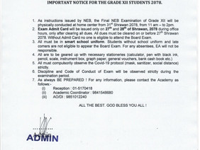 IMPORTANT NOTICE FOR THE GRADE XII STUDENTS 2078.