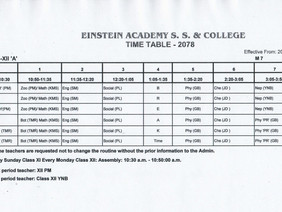 CLASS ROUTINE FOR GRADE XII-2078