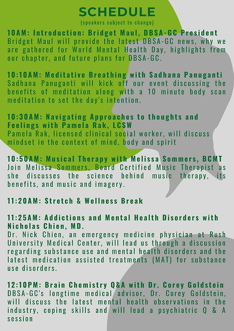 Schedule for WORLD MENTAL HEALTH DAY