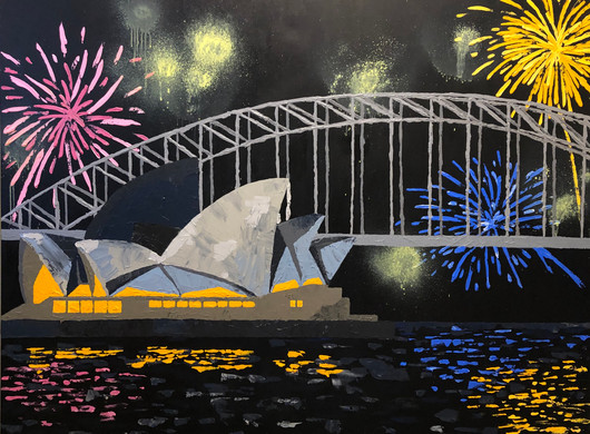 Celebration of Sydney, 2020, Acrylic on canvas, 122 x 153 cm.  Private commission.