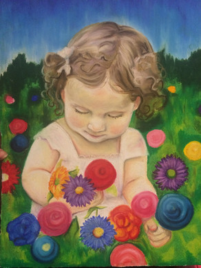 Wildflower, 2016, Oil pastel on paper, 45 x 35 cm.