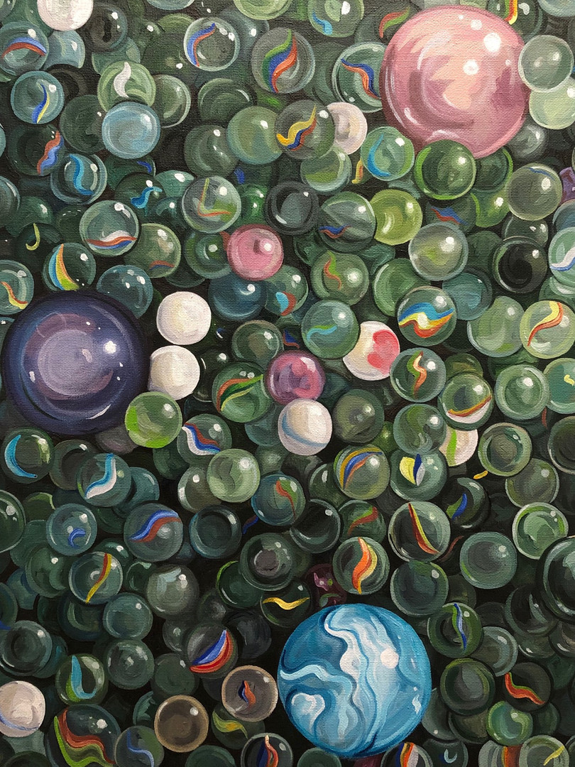 His marbles, she already lost hers, 2020, Acrylic on canvas, 51 x 41 cm.