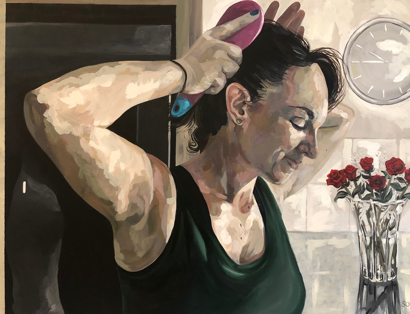 He hates it when I brush my hair in the kitchen, 2019, Acrylic on canvas, 46 x 61 cm. *