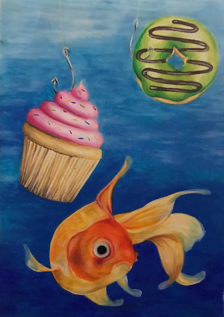 Fish don't like fancy food, 2016, Oil pastel on paper, 55 x 45 cm.