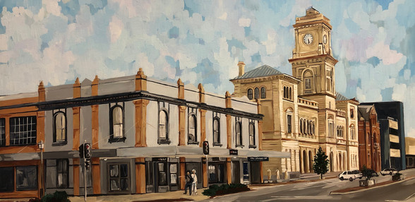 Corner Auburn and Montague Streets, Goulburn, 2019, Acrylic on canvas, 45 x 91 cm.  Goulburn Mulwaree Council commission for farewell gift for NSW Minister, Pru Goward.