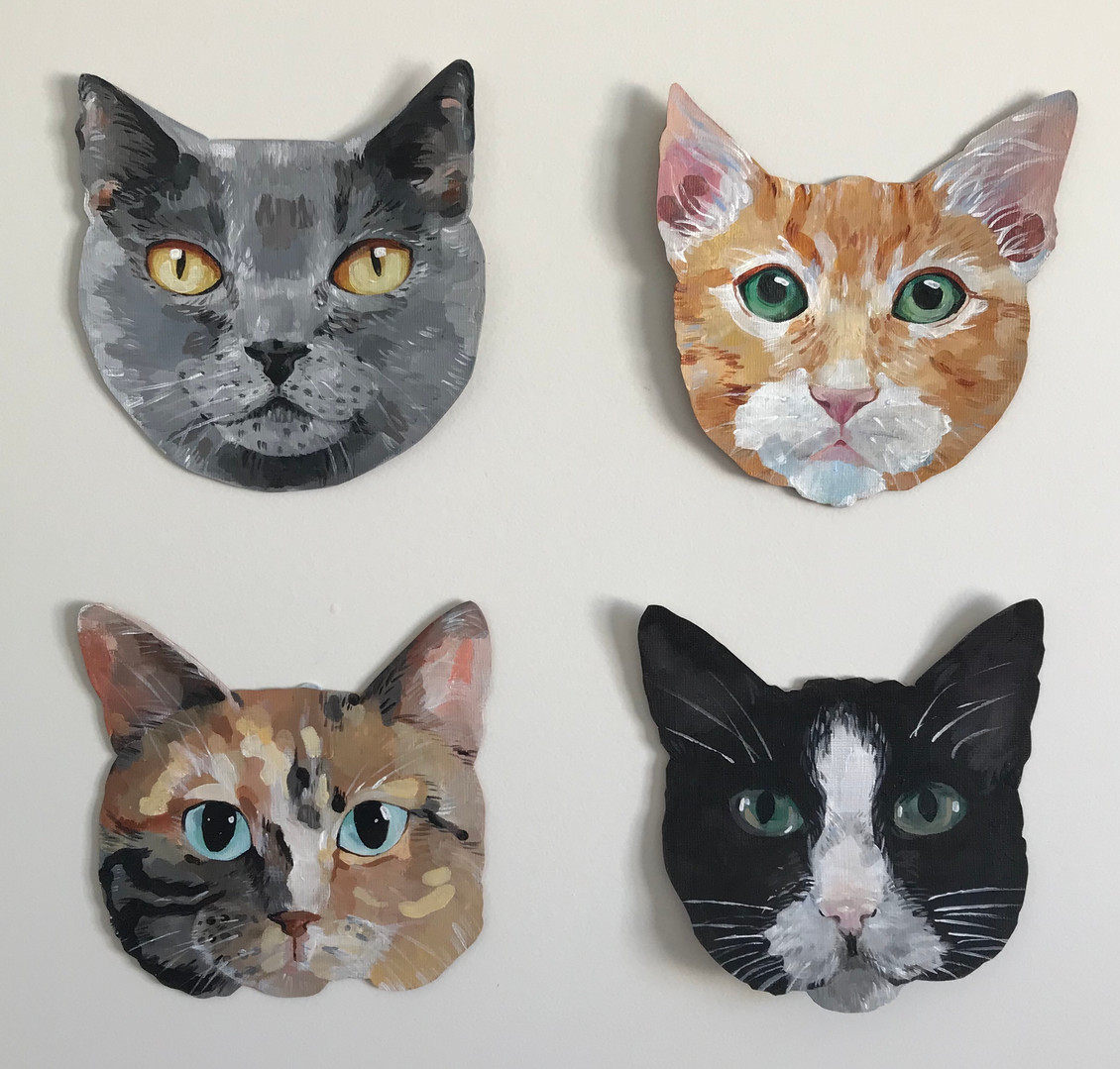 Which cat?, 2018, Acrylic on paper, 52 x 52 cm. *