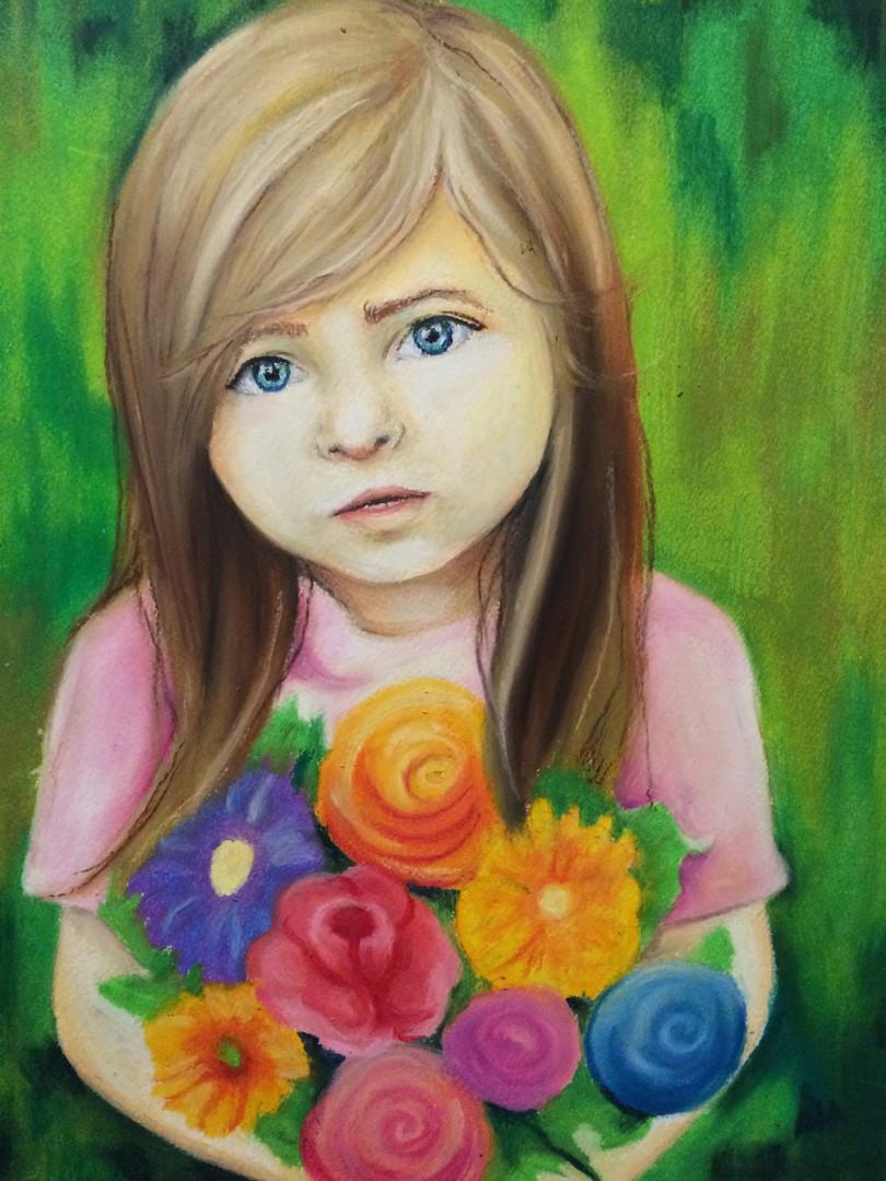 The flowery speech, 2016, Oil pastel on paper, 45 x 35 cm.