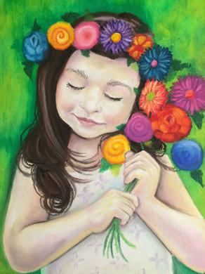 Flower power, 2016, Oil pastel on paper, 45 x 35 cm.