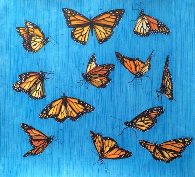Sky full of butterflies, 2017, Texta on paper, 35 x 40 cm. *