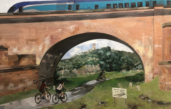 Mayor Bob's Rail Trail, 2019, Acrylic on canvas, 61 x 91 cm.  Goulburn Mulwaree Council commission.