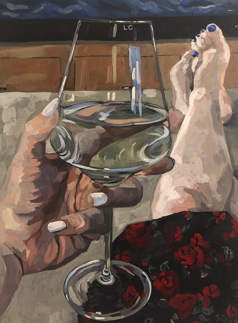 Wine time, 2019, Acrylic on canvas, 25 x 20 cm.