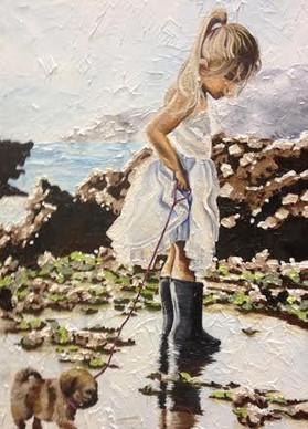 The big, big sea, 2014, Oil on canvas, 90 x 75 cm.  Winner People's Choice, Taralga Art Show 2014.