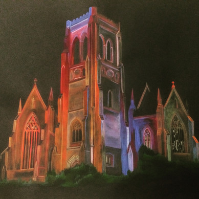 St Saviour's Cathedral, Goulburn, 2016, Gouache on paper, 65 x 75 cm.  Goulburn Mulwaree Council commission for farewell gift for Mayor Geoff Kettle.