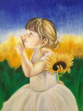 Wayside flower, 2016, Oil pastel on paper, 45 x 35 cm.