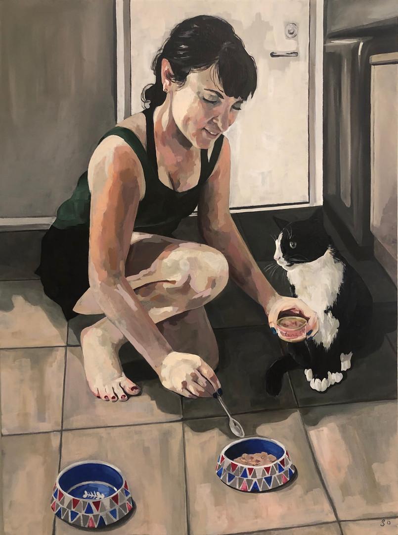 Who wants tuna for dinner?, 2019, Acrylic on canvas, 61 x 46 cm. *