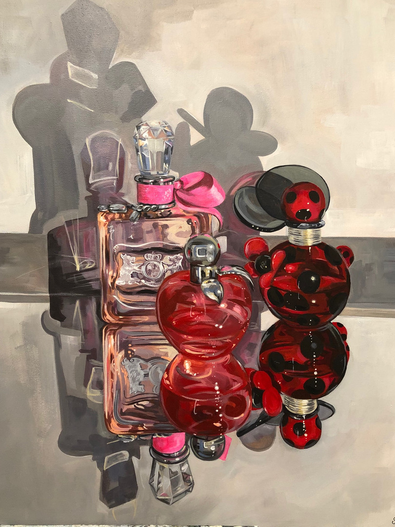 Her scents (in red), 2020, Acrylic on canvas, 51 x 41 cm. *