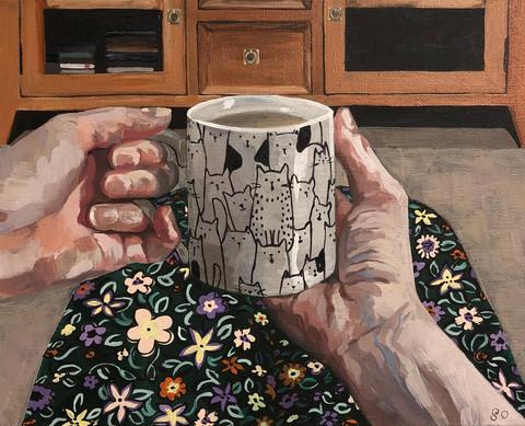 Tea time, 2019, Acrylic on canvas, 20 x 25 cm.