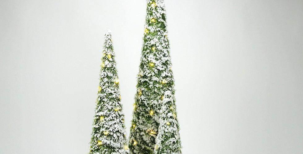 Kerstkegel verlicht groen + sneeuw
