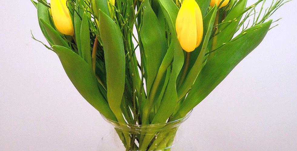 Boeket tulpen +groen