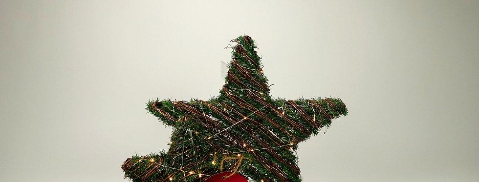 Kerstster verlicht groen + takken