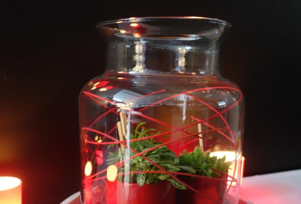 deco vaas opgevuld met plantjes