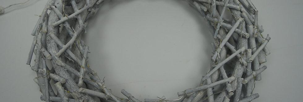 krans wit hout, 40 cm, batterijverlichting