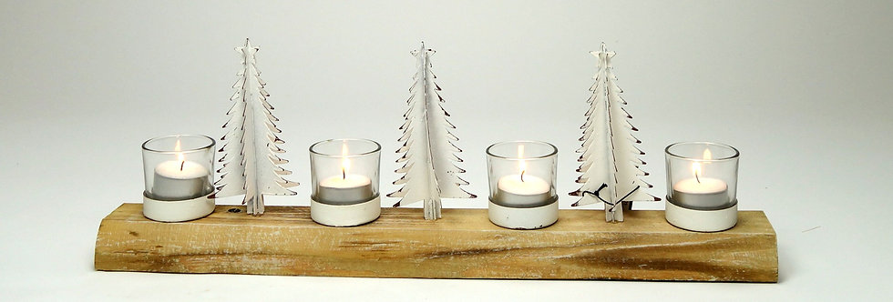 Deco hout + 4 kaarsepotjes + 3 kerstboompjes