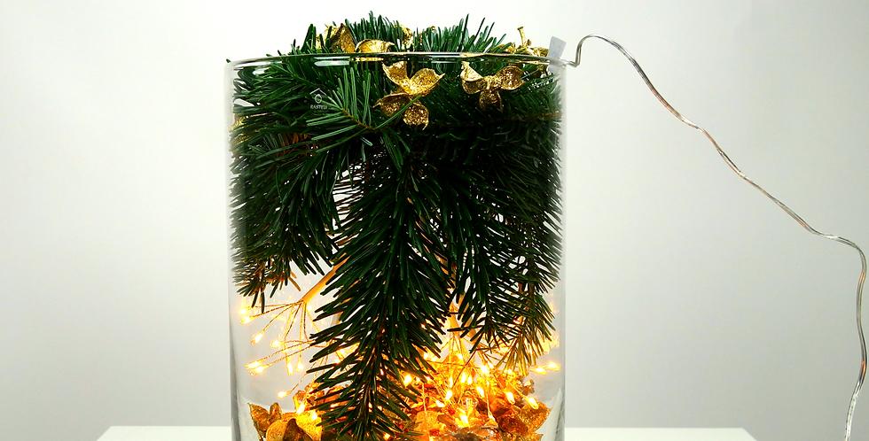 glasbokaal met kerstdeco