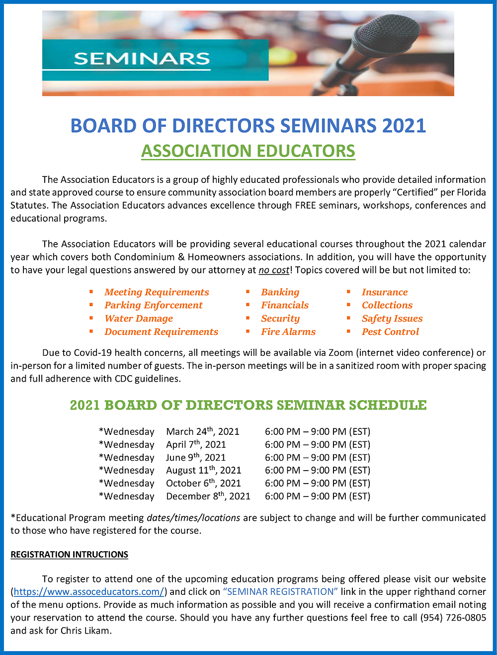 Community Association Education Free Seminars in 2021 Courtesy of Florida Professional Business Leaders