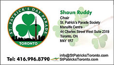 business card for St. Patrick's parade c