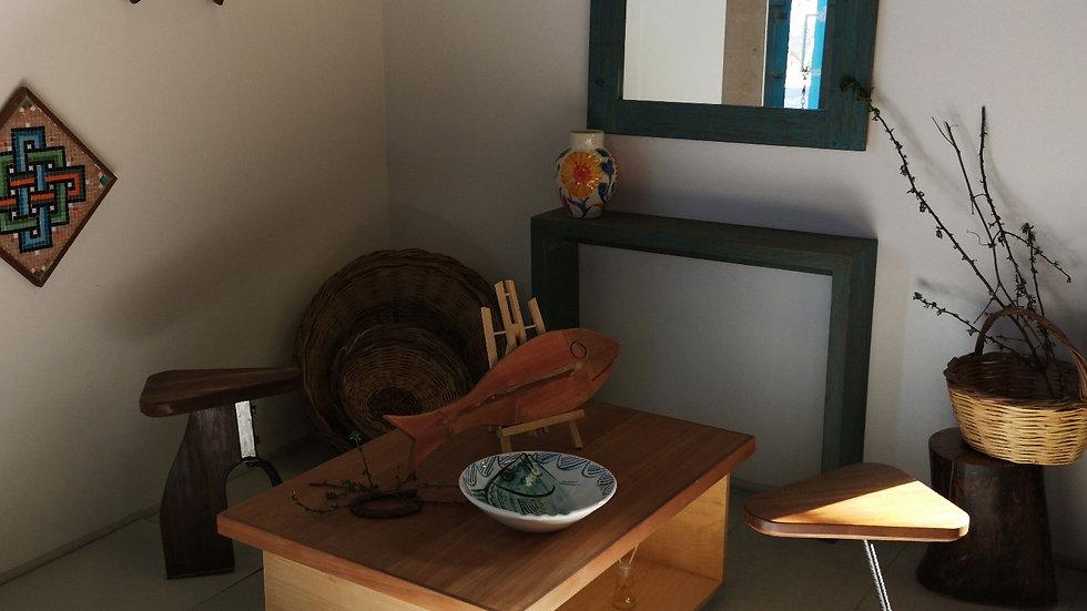 "Wooden Stool ""Saddle"" Iroco top"