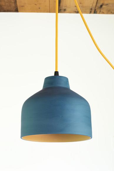 Keramische lamp petrol en oker