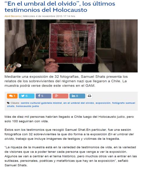 """Diario Uchile: """"En el Umbral del Olvido"""", los últimos testimonios del Holocausto."""