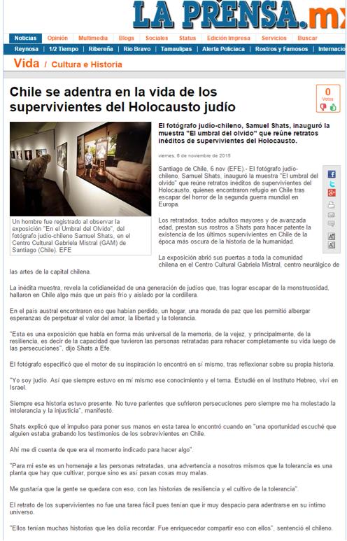 """Diario La Prensa (México) sobre el """"Umbral del Olvido"""""""