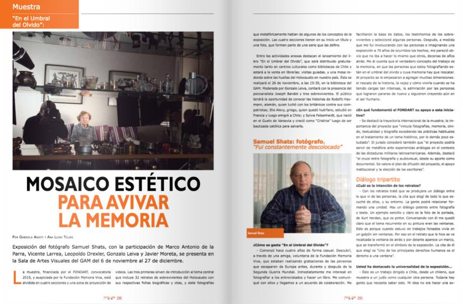 """Revista Shalom: """"Mosaico estético para avivar la memoria""""."""