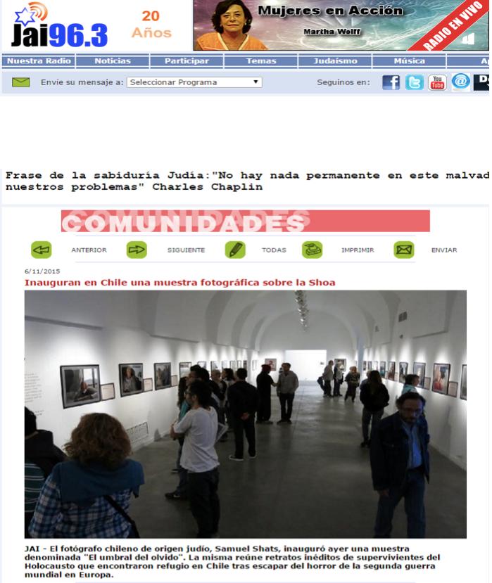 Inauguran en Chile una muestra fotográfica sobre la Shoa