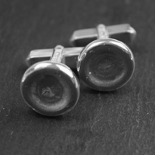 Moon Crater Cufflinks in Sterling Silver.