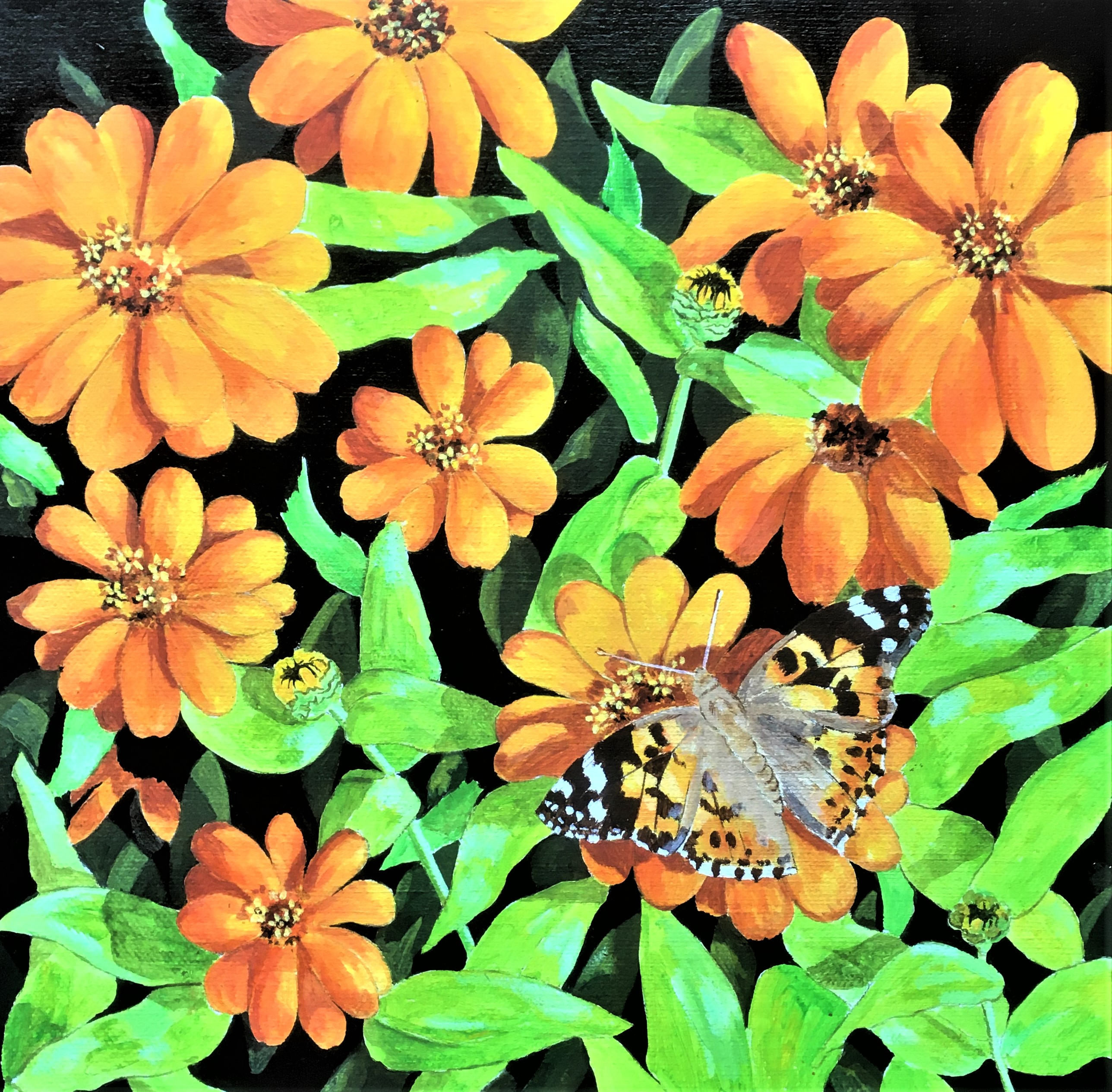 Zingy Summer Colour 12x12 acrylic