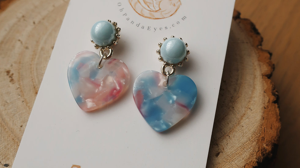 'Bubblegum' Resin Heart Drop Earrings - Baby Blue Pearlescent Studs