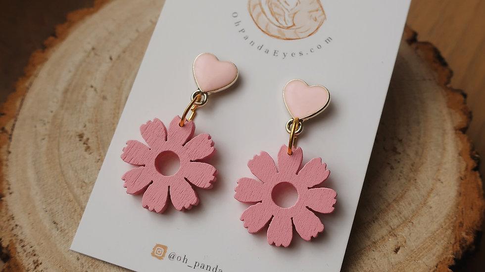'Blossom' Wooden Drop Earrings - Baby Pink Heart Studs