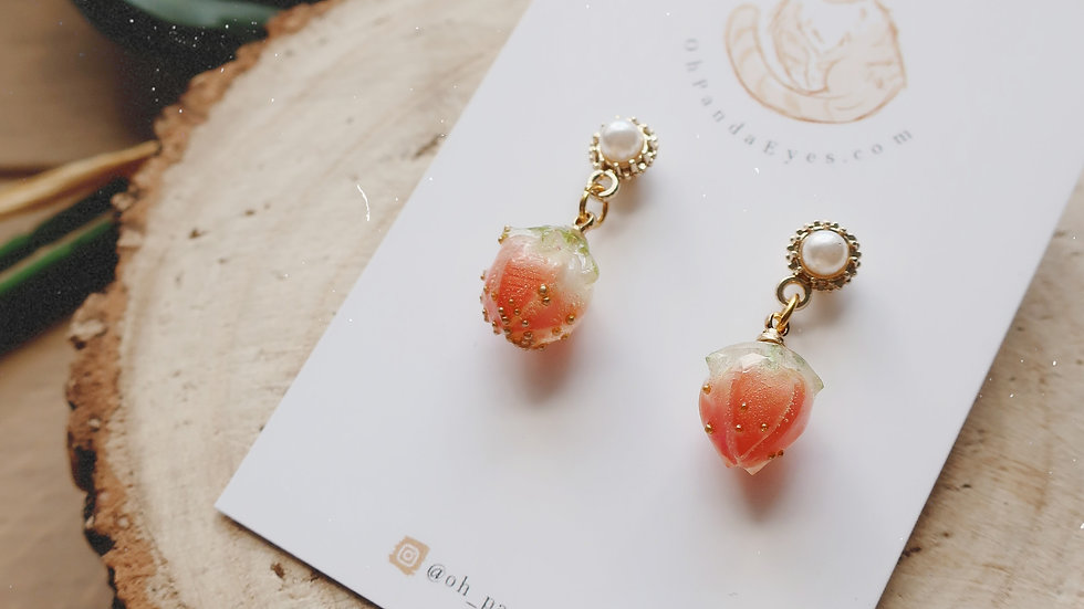 Strawberry & Cream Charm Drop Earring - Gold and Pearl Stud