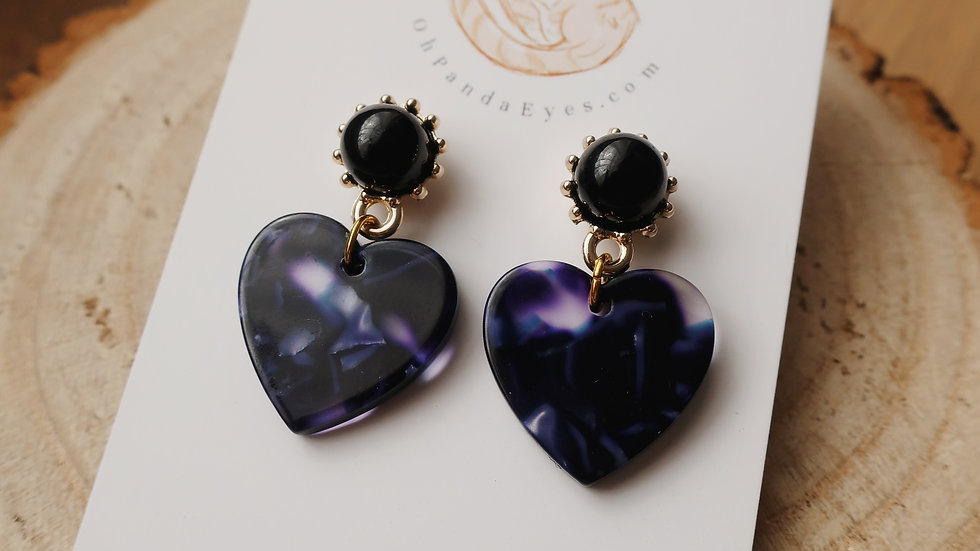 'Midnight' Resin Heart Drop Earrings - Black Pearlescent Studs