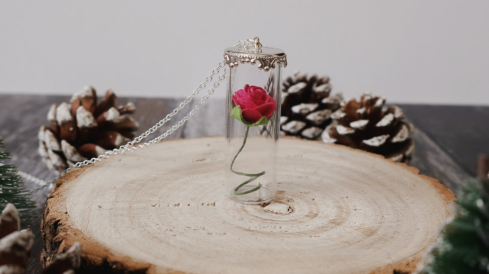 Gift Boxed -Handmade Beauty and the Beast Inspired Rose Vial Necklace