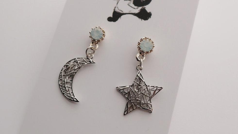 Celestial Star & Moon Asymmetrical Earrings - Circle Stud Base