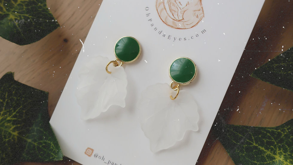'The Shire' Frosted Leaf Drop Earring - Green & Gold Stud Pendant