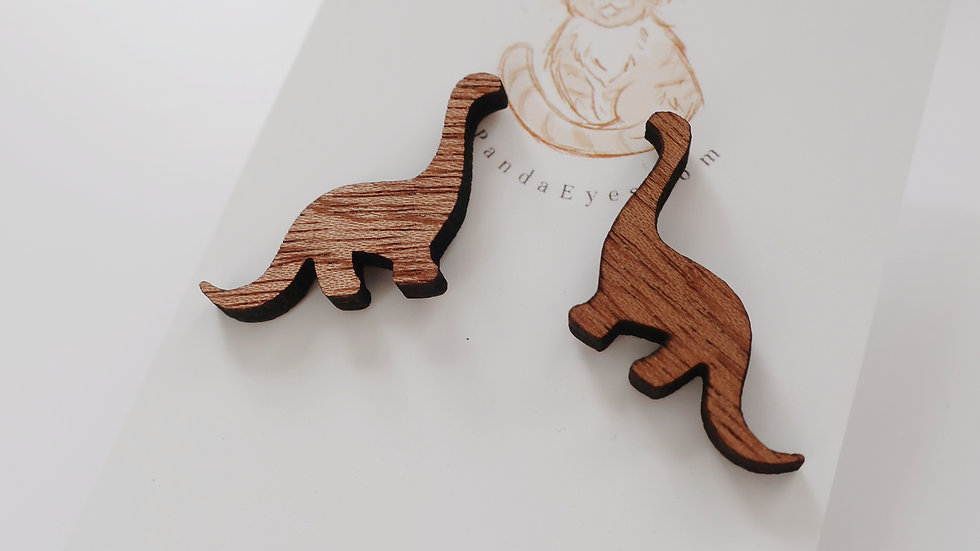Wooden 'Stegosaurus' Stud Earrings - Painted or Wood Effect