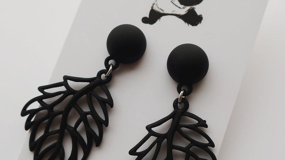 'In Nature' Intricate Black Leaf Drop Earrings