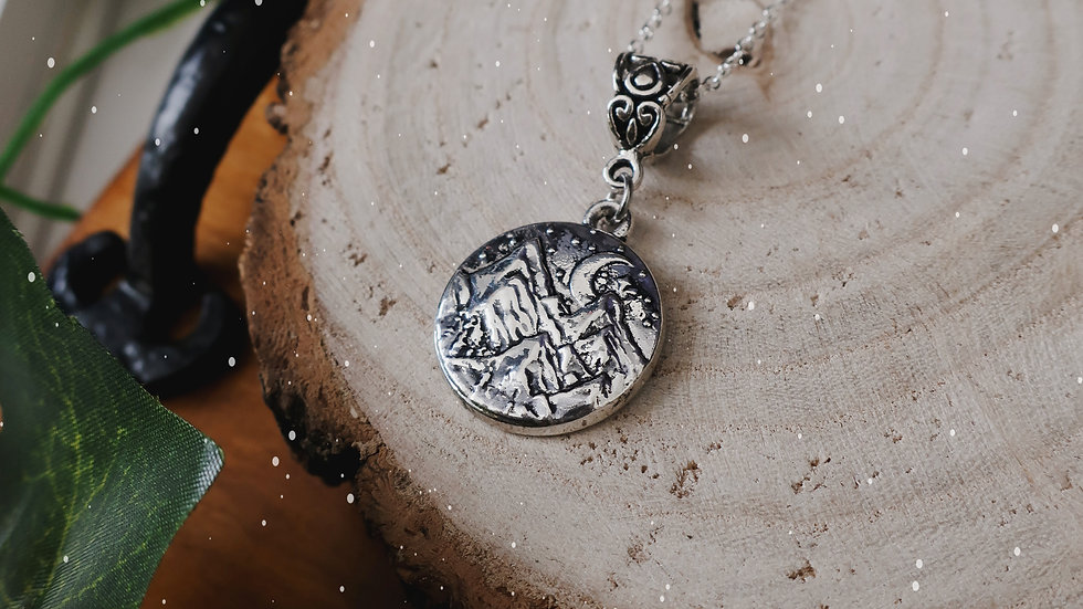 Night Court Inspired Mountain Charm Necklace - Sterling Silver Chain