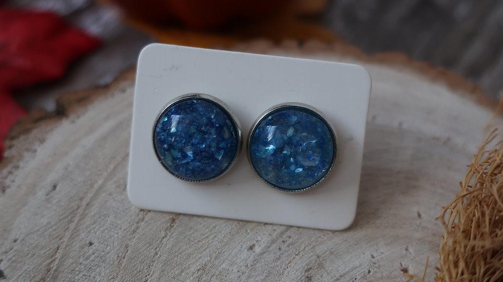 Gift Boxed - Blue Glitter Stud Earrings  - Costume Jewellery